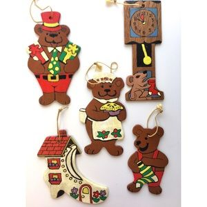 "Hand Painted Wood Christmas Ornaments ""Bears"" Lot"